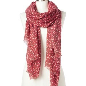 Gap Ditsy Red Tulip Wool Floral Scarf